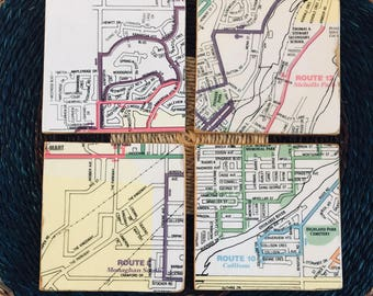 Vintage-style Map Coasters