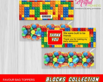 Printable Building Blocks Party Bag Toppers | Personalized