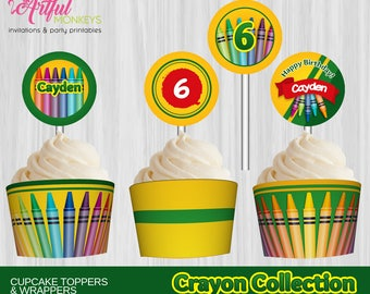Printable Crayon Art Party Cupcake Toppers and Wrappers | Personalized