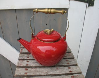 Kettle enamel and brass Red Apple, pine cones, teapot, coffeepot, kettle.