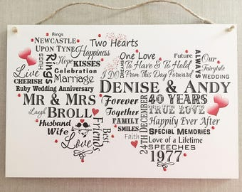 Ruby Wedding Anniversary Gift 40 Years Personalised Wedding Plaque Sign W259