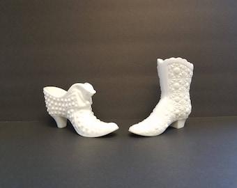 Vintage Fenton glass slippers