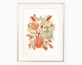 Pumpkin Harvest watercolor art print