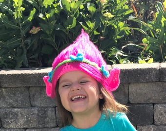 Troll hat, Crochet troll hat, Troll Halloween hat, Troll movie inspired hat, Pink troll hat, Toddler troll hat, Child troll, Adult troll