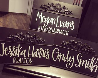 Personalized Desk Name Plate | Metal Name Plate For Desk | Tin Sign | Customizable Name Card