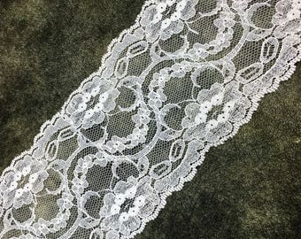 "3 1/2"" Wide White Floral Lace by Yard"