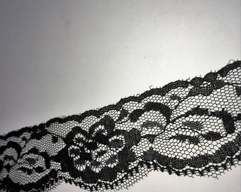 "1 1/2"" Wide Black Floral Lace by yard"