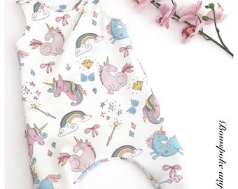 Unicorn romper - toddler romper - baby romper - harem romper - unicorn clothing - unicorn party - romper girls - baby girl romper - newborn