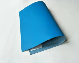 "Leather Scrap, Genuine Leather, Leather Pieces, Light Blue, Size 8.25"" by 11.5""  Leather Scrap for DIY Projects."