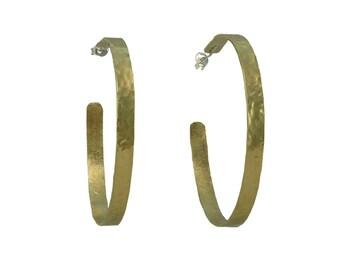 Large thin hoop earrings, gold 2 inches hoops, brass jewelry, hammered loop, stud circlet, custom hoops, narrow earrings, round studs