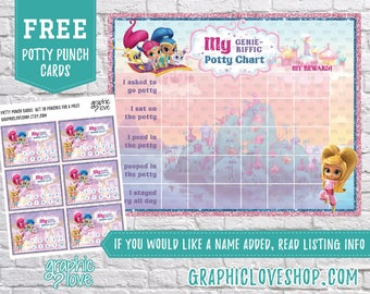 Printable Shimmer and Shine Potty Training Chart, FREE Punch Cards | Digital JPG Files, Instant download