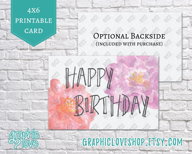 Printable 4x6 Watercolor Peony Happy Birthday Card