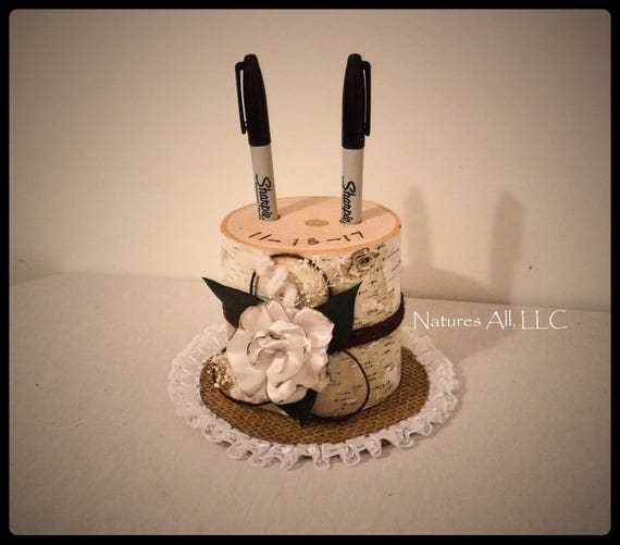 Pen Holder AND Doily-Tall/Guest Book Pen Holder-White Birch With Satin Flower/Wood Pen Holder/Log Pen Holder/Rustic Country Wedding Decor