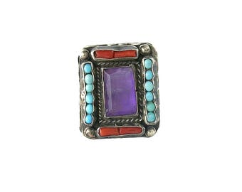 Vintage Mexican Silver Amethyst Coral Turquoise Ring