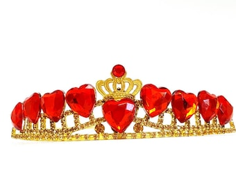 Evie Descendants 2 Crown, Disney Descendants 2 Tiara ,Evie costume,Evie Gold Tiara Red Heart Crown Descendants , Queen of Heart