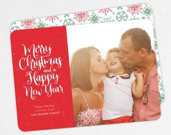 24 HOUR TURNAROUND, Family Holiday Photo Card, Family Christmas Photo Card, Merry Christmas and Happy New Year, Printable, Printed, Red, diy