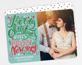 24 HOUR TURNAROUND, Newlywed Holiday Card, Wedding Holiday Card, Holiday Thank You Card, Merry Christmas, Happy New Year, Chalk, Printable