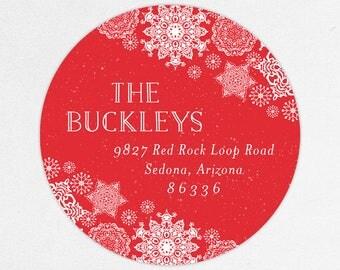 24 HOUR DIGTIAL FILE, Snowflake Christmas Return Address Labels, Holiday Return Address Labels, Christmas Return Address Labels, Printable