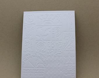 5 embossed cards - embossed Vintage