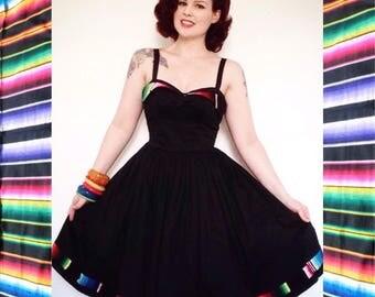 Wing bust 'fiesta' dress. Mexican Serape petal bust
