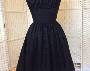 Black embroidered gathered shelf bust pinup dress with scalloped hem