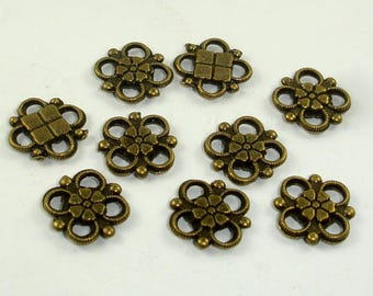 Metal Links, Flower Links, Connector Links, Zinc Alloy, Antique Brass Tone, 10x10xmm, 30 pcs (006864004)