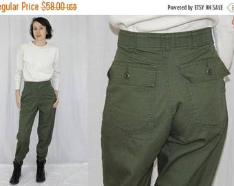 Feb Sale Vintage 80s ARMY Green HIGH Waist Military Retro Cotton Blend Utility Pant 30x33