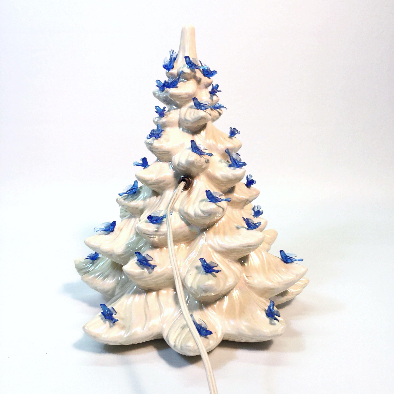 vintage white ceramic christmas tree cutout nativity scene