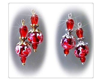Red Lampwork  petite drop earrings, clip on or pierced