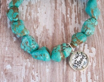 Spirit Lead Me Gift, Turquoise Christian Boho Mantra Bracelet, Cute Teen Girl Gift Ideas, Christian Gifts for Her, 602011