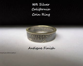 90% Silver California State Quarter Coin Ring-Antique Finish