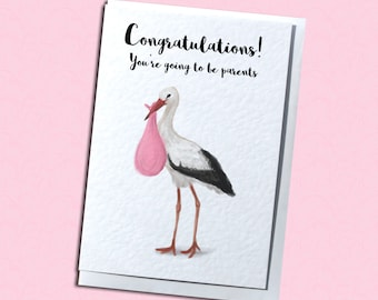 Cute Stork Expecting Baby/New Baby Greetings Card - Baby Girl/Boy - Customisable