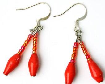 Earring Dangle, Earring's Drop, Earring's Textured, Red Earrings, Earrings Handcrafted, Gifts for Mum, Earrings Jewelry, Earring Gift Idea