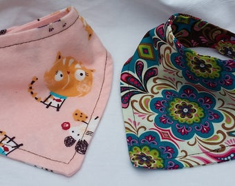 Bandana Baby Bibs: Set of two, lightweight cotton, fits 6-12mos