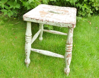 Antique Wooden Stool, vintage painted country stool, very chippy paintwork, small stool, rustic stool, original green paintwork, shabby chic