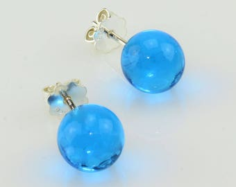 Earrings turquoise-blue (transparent)