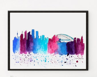 Sydney Skyline, Original Watercolor Painting, Travel Illustration, Illustrator Print, Modern City art Decor, Christmas Gift, Holiday Gifts