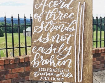 Cord of Three Strands, Ecclesiastes, Wedding, Sign, personal