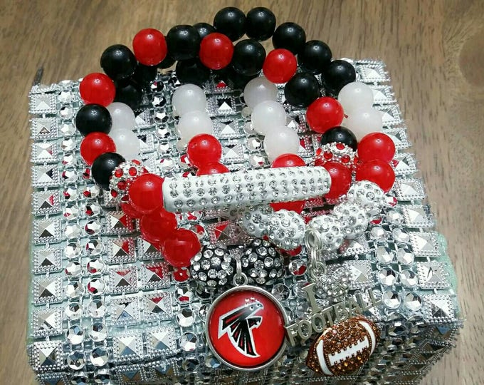 Red, Black and Bling Football Charm Bracelets