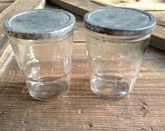 vintage jelly jars/vintage lidded glass jars