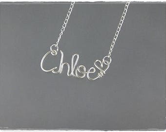 Chloe Wire Word Name Pendant Necklace