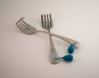 Upcycled Knitting Machine Weight Forks, with Chalk Painted Weights