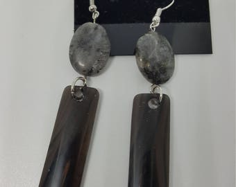 Labradorite with obsidian stone earrings. Item #e345