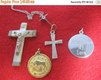 Summer Sale 5 Charms Marked Sterling Silver, Several Crosses one with Chain