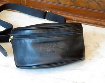 Coach Canteen Waist Pouch aka 'Fanny Pack' In Black Leather Style No. 0515- Made in United States - EUC - 1996 Olympic Broadcasting Swag