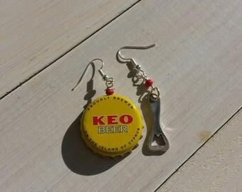 Earrings caps Kheo Beer and a bottle opener