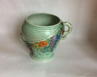 Carlton ware,  Green Vase,  With Flowers , Art Deco , 1930s