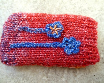 Knit Mobile Phone Cover with Crochet Flower Applique for a Small Phone Red, Orange and Violet