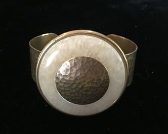 Vintage Jan Michaels Bracelet with Brass Surrounded by Stone