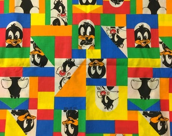 Baby Looney Tunes fabric Daffy Bugs Sylvester Taz Tweety Fat Quarter FQ quilting nursery diy blanket